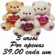 Urso apaixonado te amo kit com 3