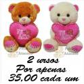 Urso coração te amo kit com 2