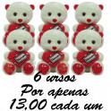Urso coração y love you - kit com 6