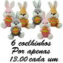 Coelho segurando ovo - kit com 6