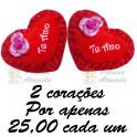 Coração te amo com flor kit com 2