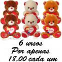 Urso coração love - kit com 6