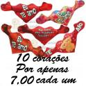 Corações apaixonados - kit com 10