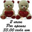 Urso coração love - kit com 2