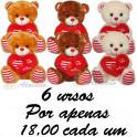 Urso coração te amo - kit com 6