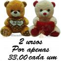 Ursos coração te amo - kit com 2