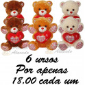 Urso coração - kit com 6