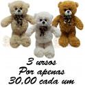 Urso com laço - kit com 3