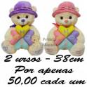 Urso flor amor kit com 2
