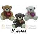 Ursos com coração love - kit com 3