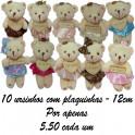 Urso plaquinha kit com 10