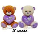 """Kit: 2 Urso com Coração Lilás """"Te Amo"""""""