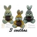 Kit: 3 Coelhos com Cesta