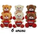 Urso coração amor - kit com 6