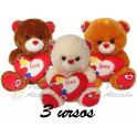 Ursos coração te amo - kit com 3