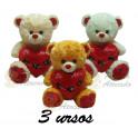 Kit: 3 Ursos Coração Te Amo nº5