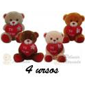 """Kit: 4 Ursos Coração """"Te Amo"""" nº8"""