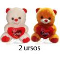 Ursos coração love you - kit com 2