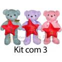 Kit: 3 Ursos de Laço estrela de natal