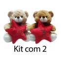Kit: 3 Ursos com Estrela de Natal