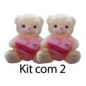 """Kit: 2 Ursos Coração """"Te Amo"""" nº3"""
