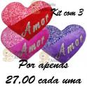 Coração amor kit com 3