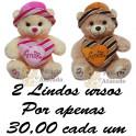 Urso coração e chapéu kit com 2