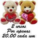 Urso com coração - kit com 2