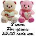 Urso coração kit com 2