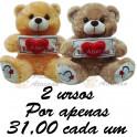 Urso placa eu te amo - kit com 2