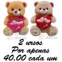 Urso cesta com coração - kit com 2