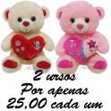 Urso coração - kit com 2