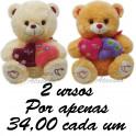 Urso coração duplo kit com 2
