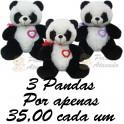 Urso panda com coração te amo - kit com 3