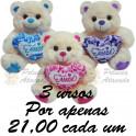Ursos com coração amor - kit com 4